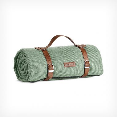 Picnic Blanket Green Herringbone