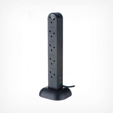 10 Socket Tower - Black