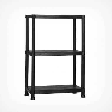 3 Tier Black Plastic Shelving