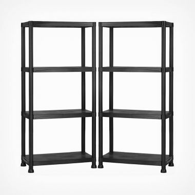 4 Tier Black Shelving Unit x 2
