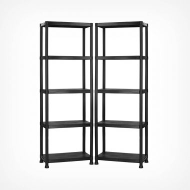 5 Tier Black Shelving Unit x 2