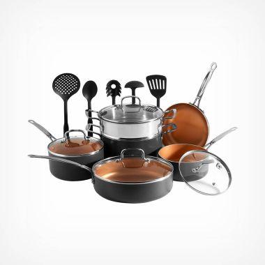 11 Piece Copper Cookware Set