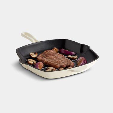 Cream 26cm Cast Iron Griddle Pan