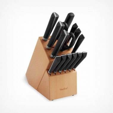 15pc Stainless Steel Knife Block Set