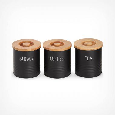 3pc Canister Set with Bamboo Lids