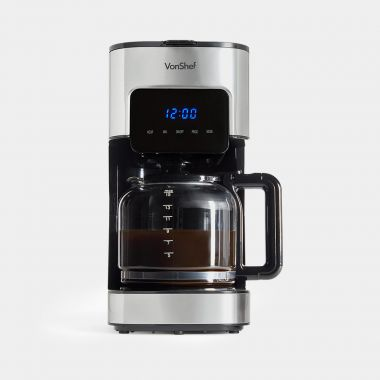 vonshef black stainless sleet 1.5L filter coffee machine