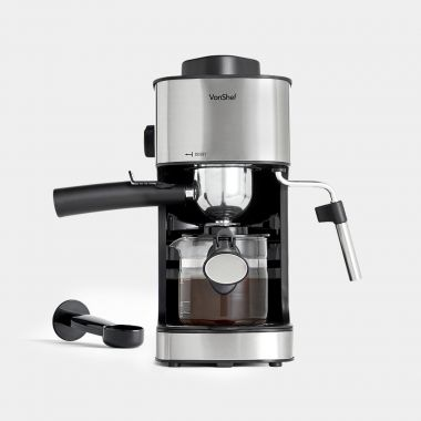 vonshef 4 bar stainless steel small espresso machine
