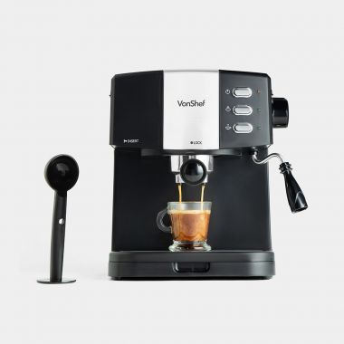 vonshef 15 bar black at home espresso machine