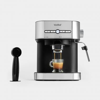 vonshef 15 bar pro espresso coffee machine with milk frother