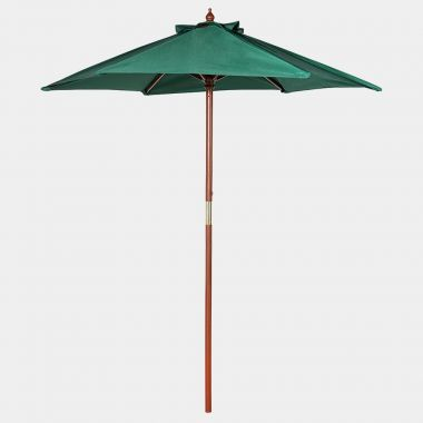 2M Hunter Green Wooden Parasol