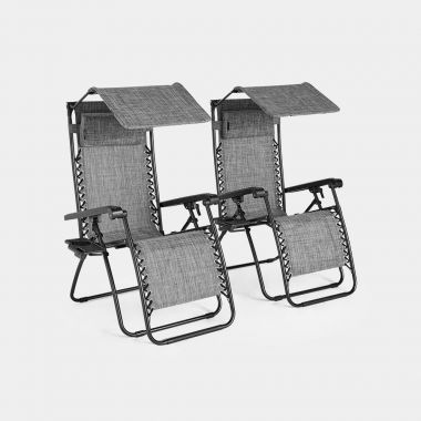 Set of 2 Zero Gravity Canopy Chairs