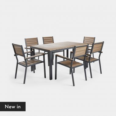 6 Seater Wood Effect Dining Set