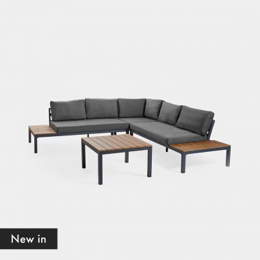 Wood Effect Corner Sofa Set & Table