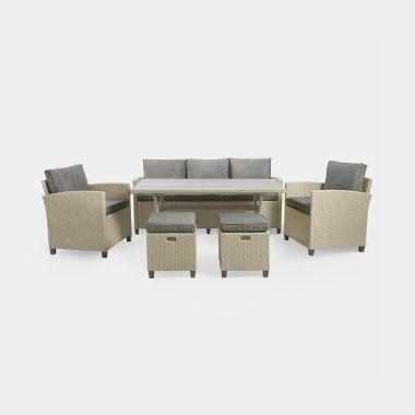 Grey 7 Seater Rattan Dining Set