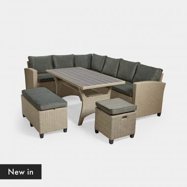 9 Seater Rattan Corner Dining Set