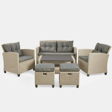 Grey 6 Seater Rattan Sofa Set
