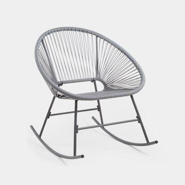 Grey Rattan Rocking Chair