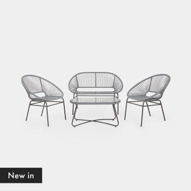 Rattan Sofa and Table Set
