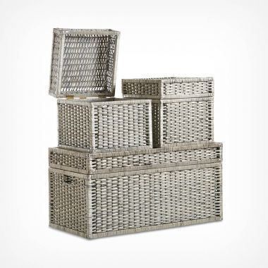 Set of 3 Large Wicker Storage Trunks