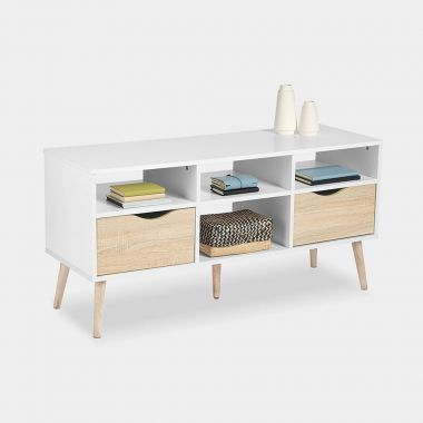 White & Oak Large TV Unit