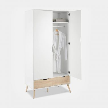 White & Oak Double Wardrobe