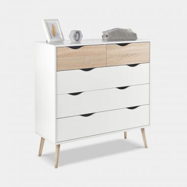 White & Oak Chest Of Drawers