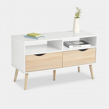 White & Oak Small TV Unit