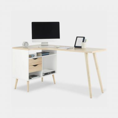White & Oak Computer Desk