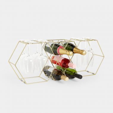 Wine Bottle Rack & Glass Holder