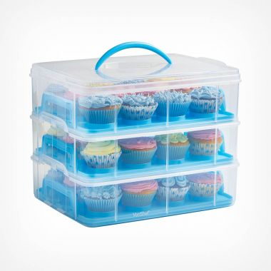 3 Tier Cupcake Carrier Blue