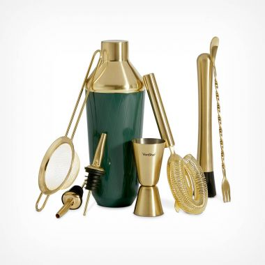 Green & Brushed Gold Cocktail Set