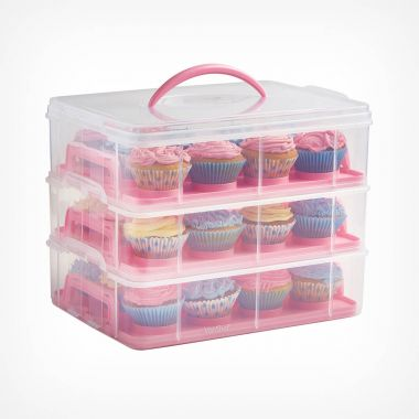 3 Tier Cupcake Carrier Pink