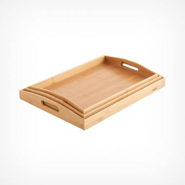 3 Piece Bamboo Serving Tray Set