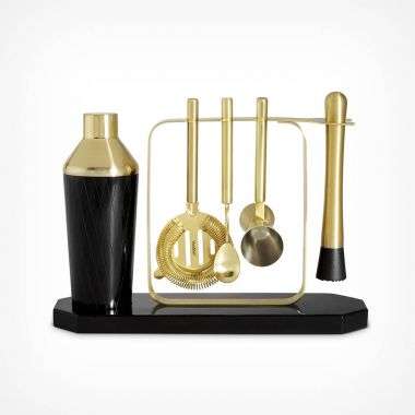 Black Cocktail Set with Stand