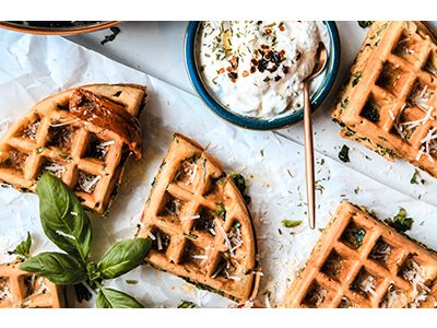 National waffle day: Cheesy spinach and ricotta waffles