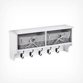 Wooden Storage Shelf With Wicker Baskets /& Coat Hooks Hanger Wall Unit White