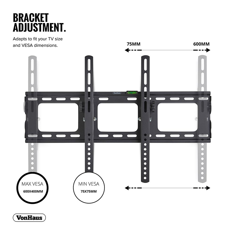Tilting Mount For Vesa Compatible Screens 75kg Weight Capacity With Locking Bar Vonhaus 32 70 Inch