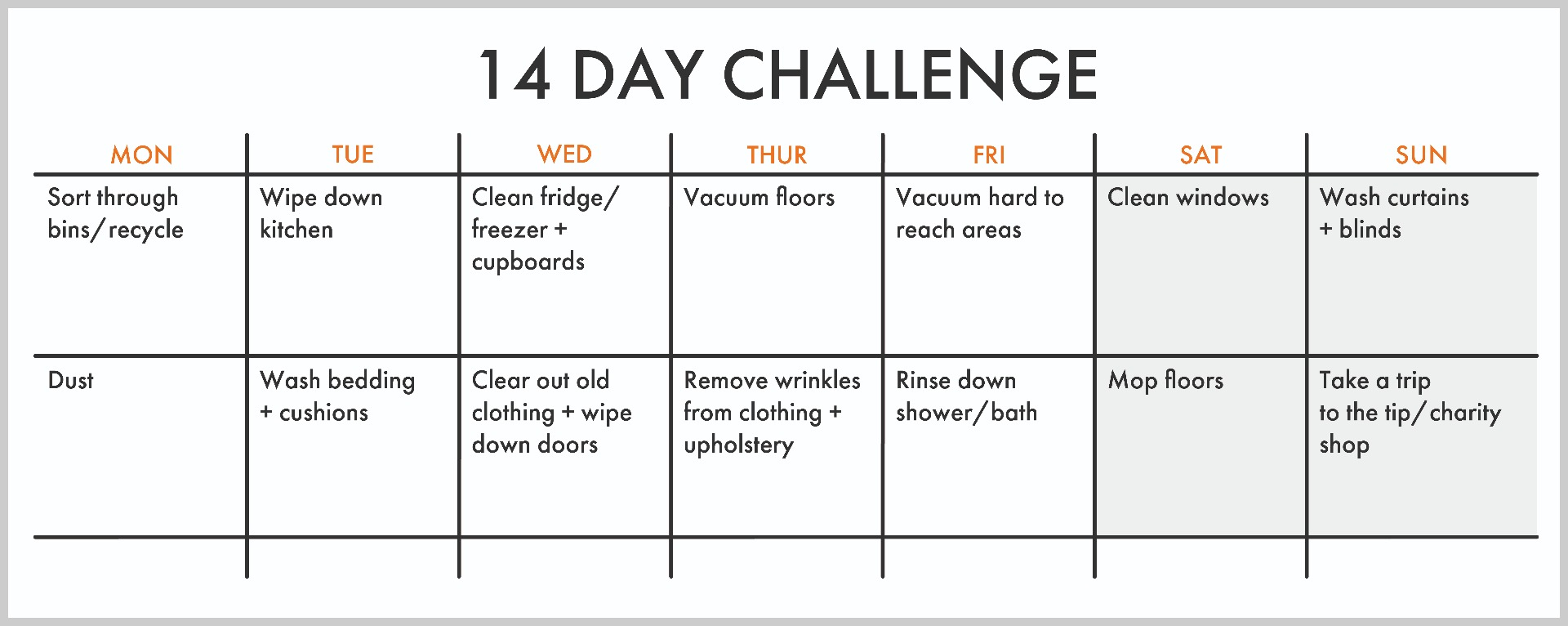 vonhaus 14 day cleaning challenge