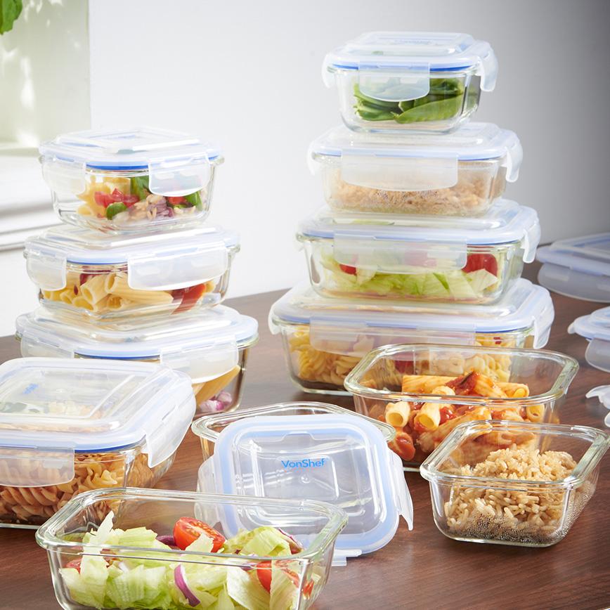 VonShef 12 piece glass storage container set